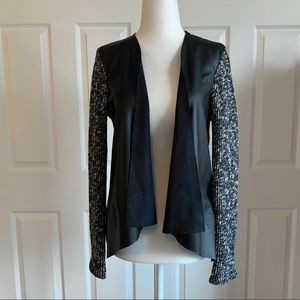 Faux Leather and Sparkle Sweater Cardigan